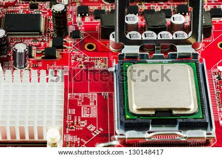 Motherboard cpu and chipset - stock photo