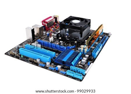 motherboard on a white background - stock photo