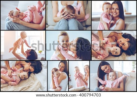 Motherhood is pure joy. Collage of cheerful beautiful young woman holding baby girl in her hands and looking at her with love while sitting on the couch at home - stock photo