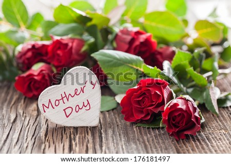 mothers day card with roses and heart shape  - stock photo