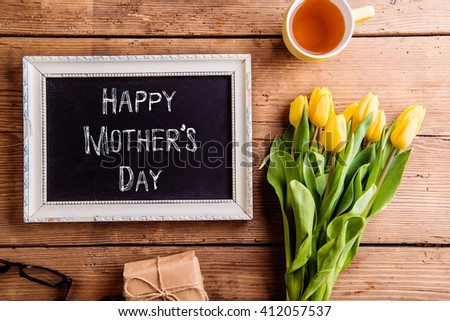 Mothers day composition, Picture frame with chalk sign - stock photo