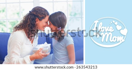 mothers day greeting against cute girl offering gift to her mother - stock photo