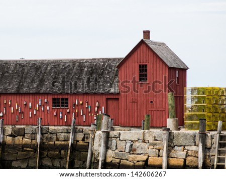 Motif Number 1 and Lobster Traps on Bradley Wharf in Rockport, Massachusetts - stock photo