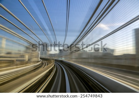 Motion blue of a Japanese mono rail - stock photo