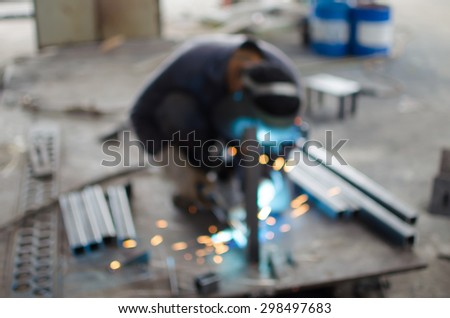 motion blur and blurry Workers are welding - stock photo