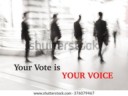 motion blur businessman walking, election concept - stock photo