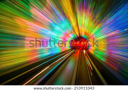 Motion blur in the Shanghai Sightseeing Tunnel. - stock photo