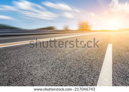motion blur of the road - stock photo