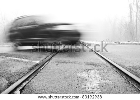 Motion Blur Railroad Crossing - stock photo