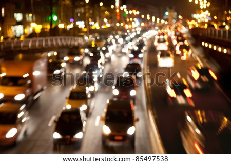 Motion blur. Rush hour in the late afternoon. Late afternoon traffic. Background. Abstract. - stock photo