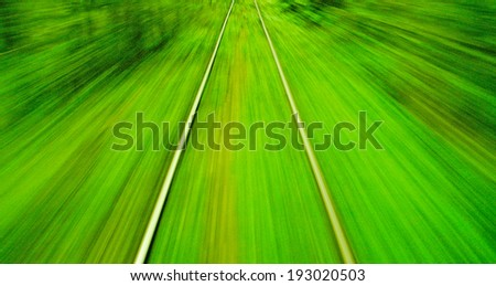 Motion blur view from o train on high speed - stock photo
