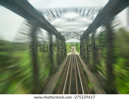 Motion blurred on speeding train with zooming effect - stock photo