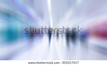 Motion blurred people walking in subway station.abstract city people background - stock photo
