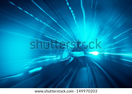 motion fast in tunnel with abstract view - stock photo