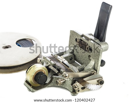 Motion picture film splicer - stock photo