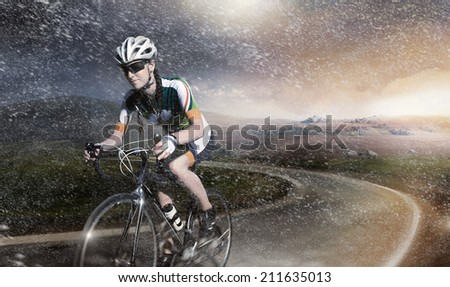 Motion road cyclist.  - stock photo