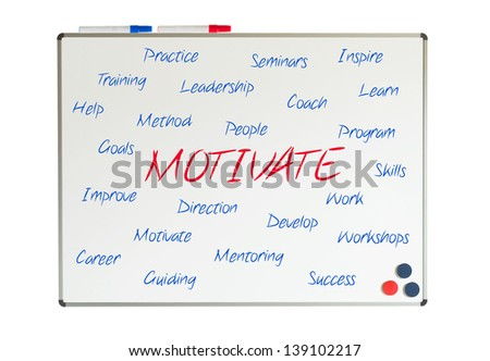 Motivate word cloud written on a whiteboard - stock photo