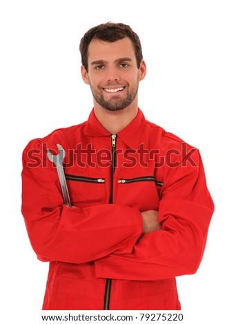 Motivated mechanic. All on white background. - stock photo
