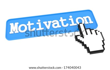 Motivation - Blue Button with Hand Cursor. - stock photo
