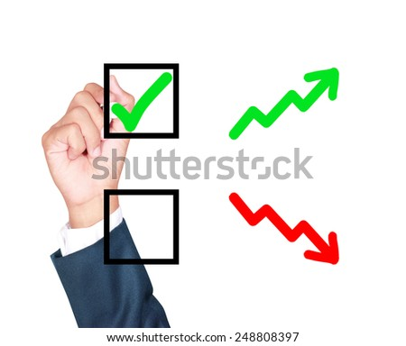 motivation choose growth solution for success by businessman tick box on white background - stock photo