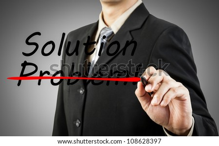Motivation concept. Businessman write the word problem and solution - stock photo
