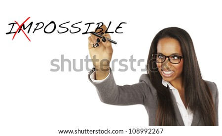 Motivation concept, transforming word impossible into possible - stock photo