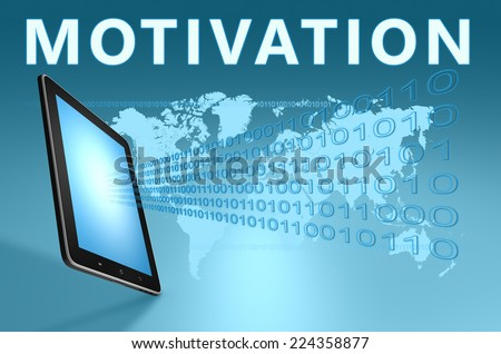 Motivation illustration with tablet computer on blue background - stock photo