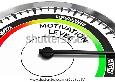 Motivation level concept - gauge gage dial close up with arrow measuring high motivation - stock photo