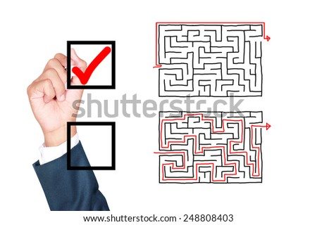 motivation think outside the box solution for success by businessman tick box on white background - stock photo