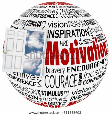 Motivation words in a collage on a globe or sphere with open door to clear sky of opportunity to illustrate inspiration, belief, confidence, enthusiasm and ambition to achieve success in life - stock photo