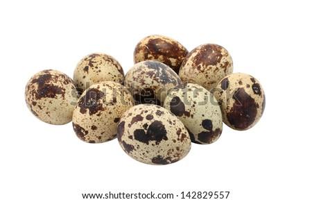 Motley quail eggs isolated on white background - stock photo