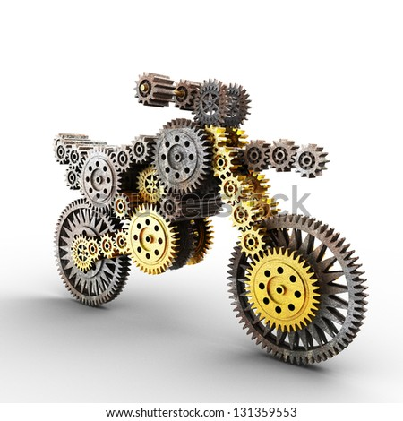 motobike made of gears on white - stock photo