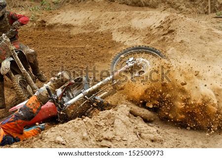 Motocross crash - stock photo