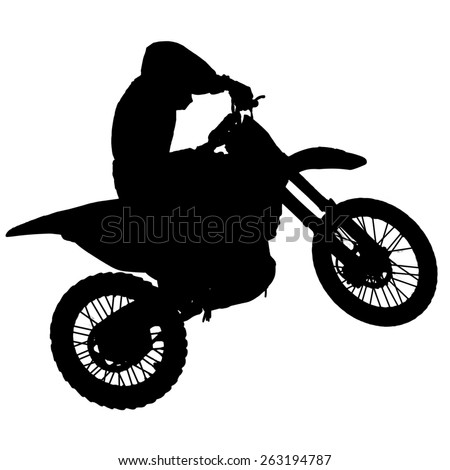 Motocross - silhouette with white background - stock photo