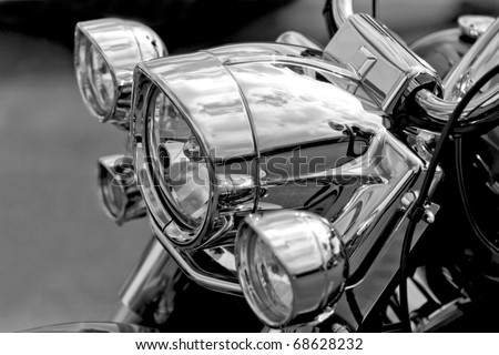 Motor Bike Headlight - stock photo