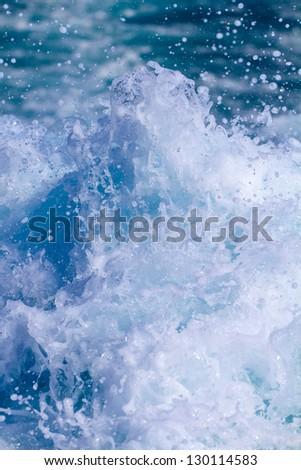 Motor boat engine turbulances - stock photo