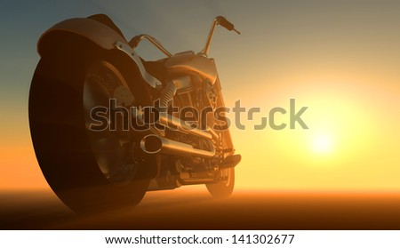 Motor cycle on an orange background. - stock photo