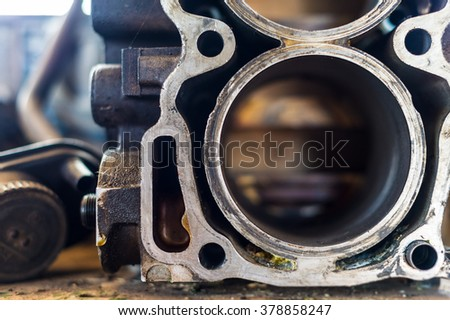 Motor engine block close up details  - stock photo