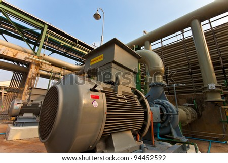 motor equipment in factory for water pump - stock photo