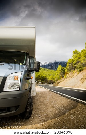 Motor Home Near The Road In Spain. Europe Travel Series. - stock photo