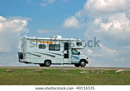 Motor home ready to hit the open road - stock photo
