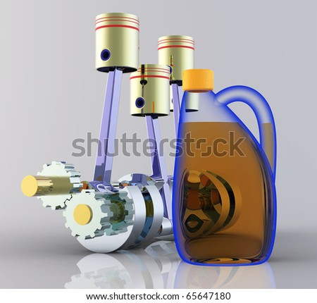 Motor oil and the piston engine - stock photo