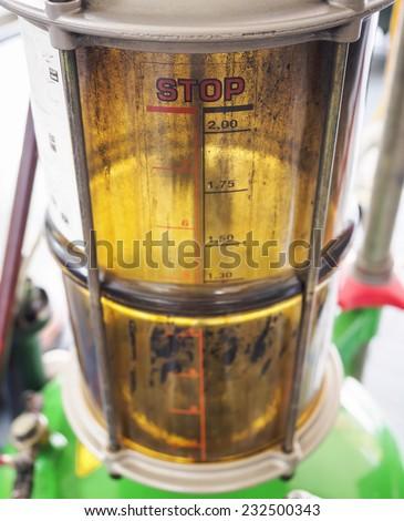 Motor oil, Car engine oil measurement close up - stock photo