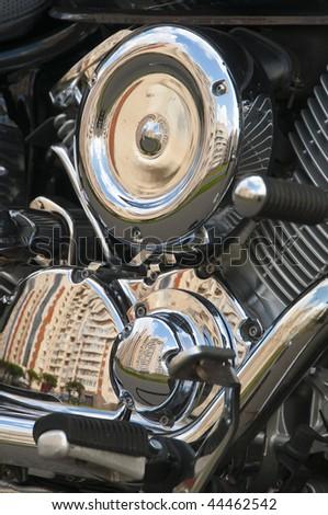 Motorbike's chromed engine - stock photo