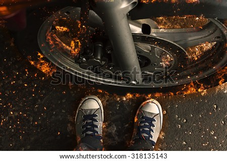 Motorbike wheel in flame, fire illustration - stock photo