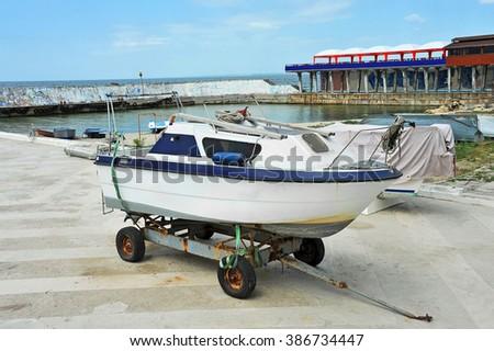 Motorboat at beach lifeguard station, Odessa, Ukraine - stock photo
