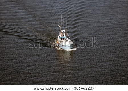 Motorboat from above in Little Belt, Denmark - stock photo