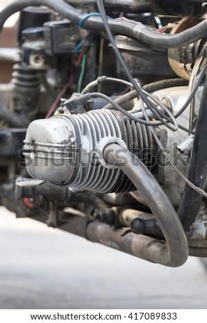 Motorcycle detail. metallic motorcycle motor - stock photo