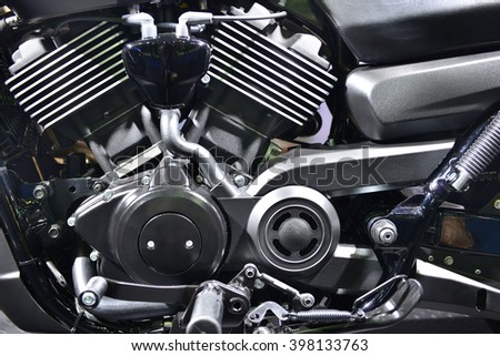 Motorcycle engine,detail of motorcycle engine,Black and white. - stock photo