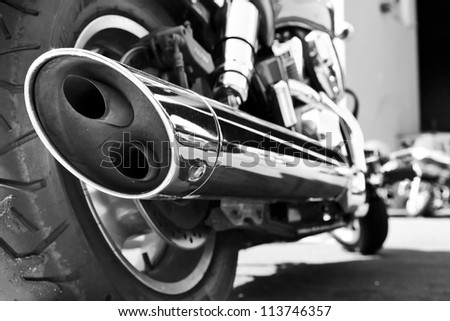 motorcycle exhaust - stock photo